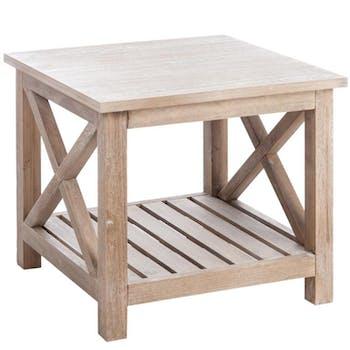 Table basse de salon bois naturel patiné grisé blanchi L50xP50xH45cm PAOLIA