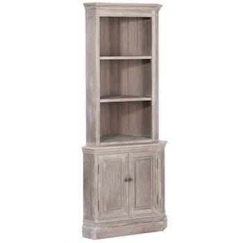 Encoignure vitrine bois naturel patiné grisé blanchi 3 niveaux 2 portes  L52xP52Hx180cm PAOLIA
