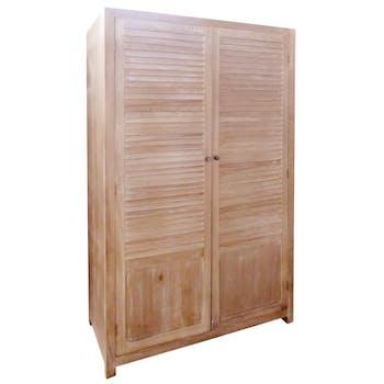 Armoire dressing bois naturel patiné grisé blanchi, 2 portes à claire-voie L120xP55xH185cm PAOLIA