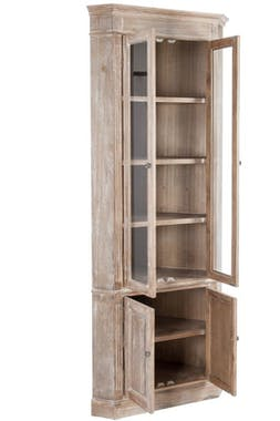 Encoignure bois naturel patiné grisé blanchi, 2 portes vitrées et 2 portes pleines L61xP61xH193cm PAOLIA