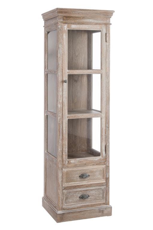 Meuble vitrine bois naturel patiné grisé blanchi 2 plateaux et 2 tiroirs L56xP40xH186cm PAOLIA