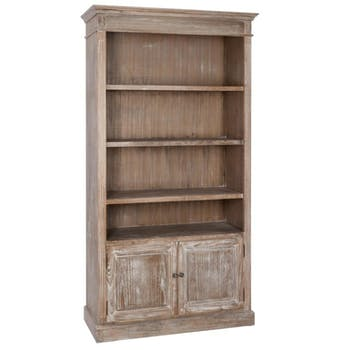 Meuble bibliothèque bois naturel patiné grisé blanchi 3 étagères 2 portes L107xP38,5xH198cm PAOLIA