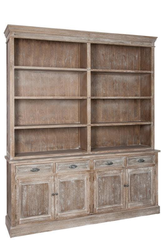 Meuble bibliothèque bois naturel patiné grisé blanchi 6 étageres 4 tiroirs 4 portes L190xP40xH226cm PAOLIA