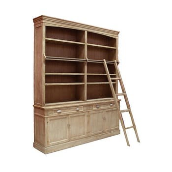 Bibliothèque échelle bois naturel patiné grisé blanchi 4 tablettes, 4 tiroirs, 4 portes L200xP41xH232cm PAOLIA