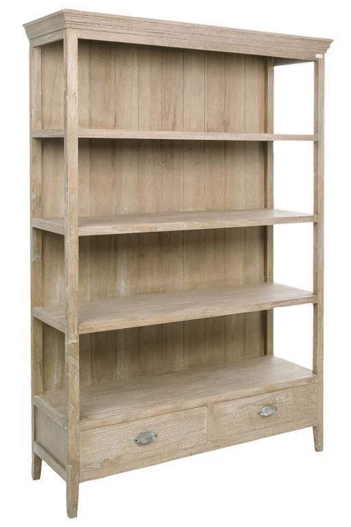 Etagère bois naturel patiné grisé blanchi 4 niveaux, 2 tiroirs bas L128xP42xH180cm PAOLIA