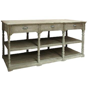 Console triple bois naturel patiné grisé blanchi 3 tiroirs, 2 niveaux bas L180xP50xH85cm PAOLIA