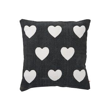 Coussin carré déhoussable à coeurs blanc 60x60cm en coton - Coloris noir et blanc