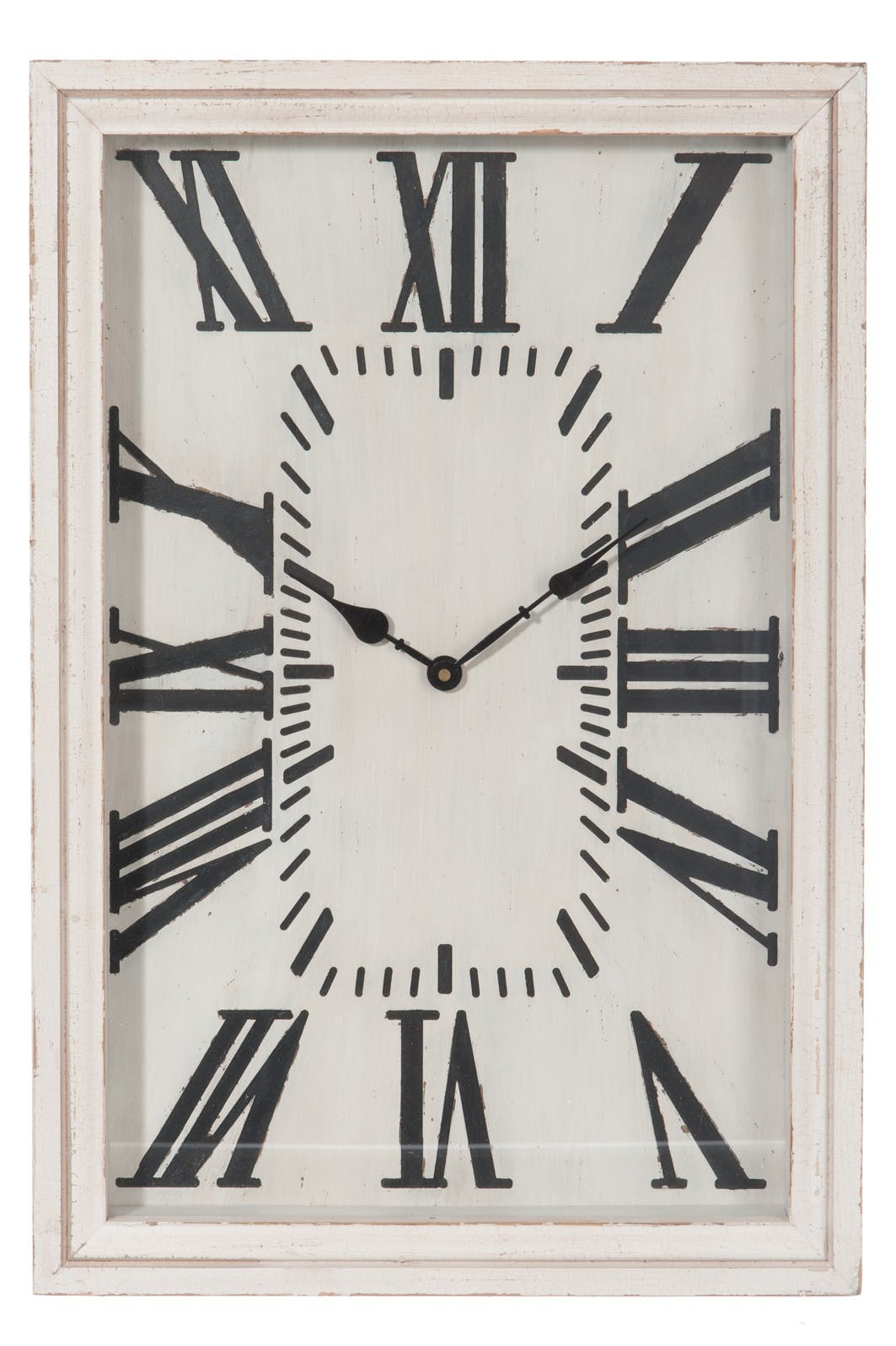 Horloge murale rectangle avec chiffres romains Style Vintage 40,5x8x60cm en bois et verre - Coloris blanc
