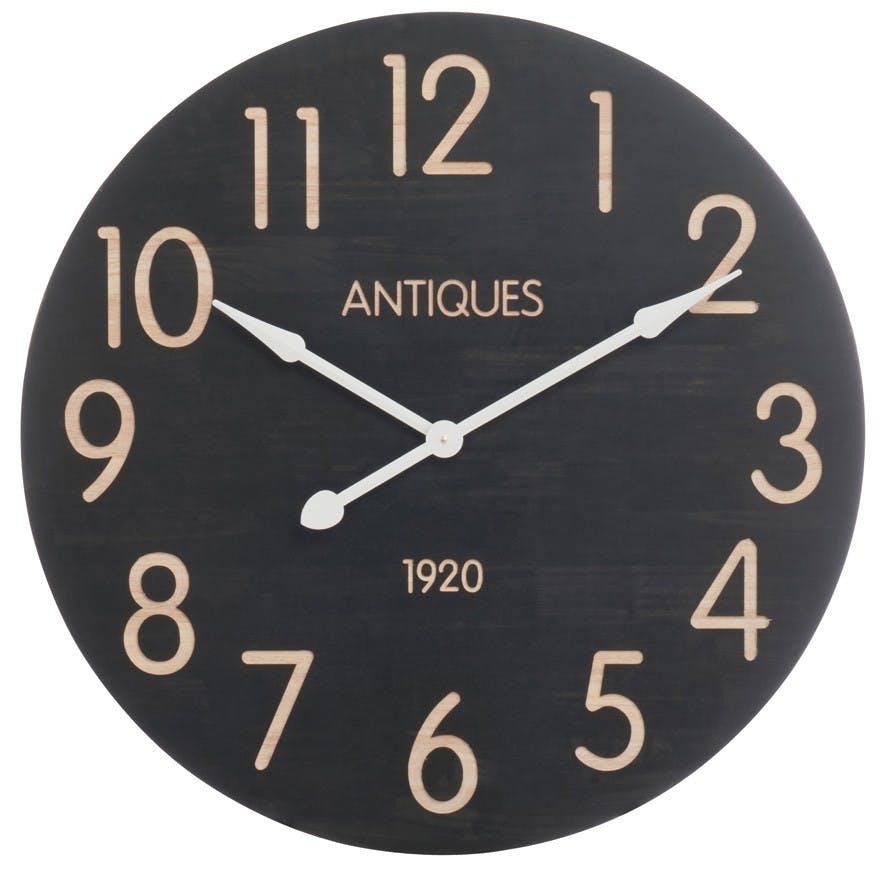 Horloge murale ronde Grand diamètre D81,5cm Style Vintage en bois - Décor Antiques 1920 - Coloris Noir et Crème