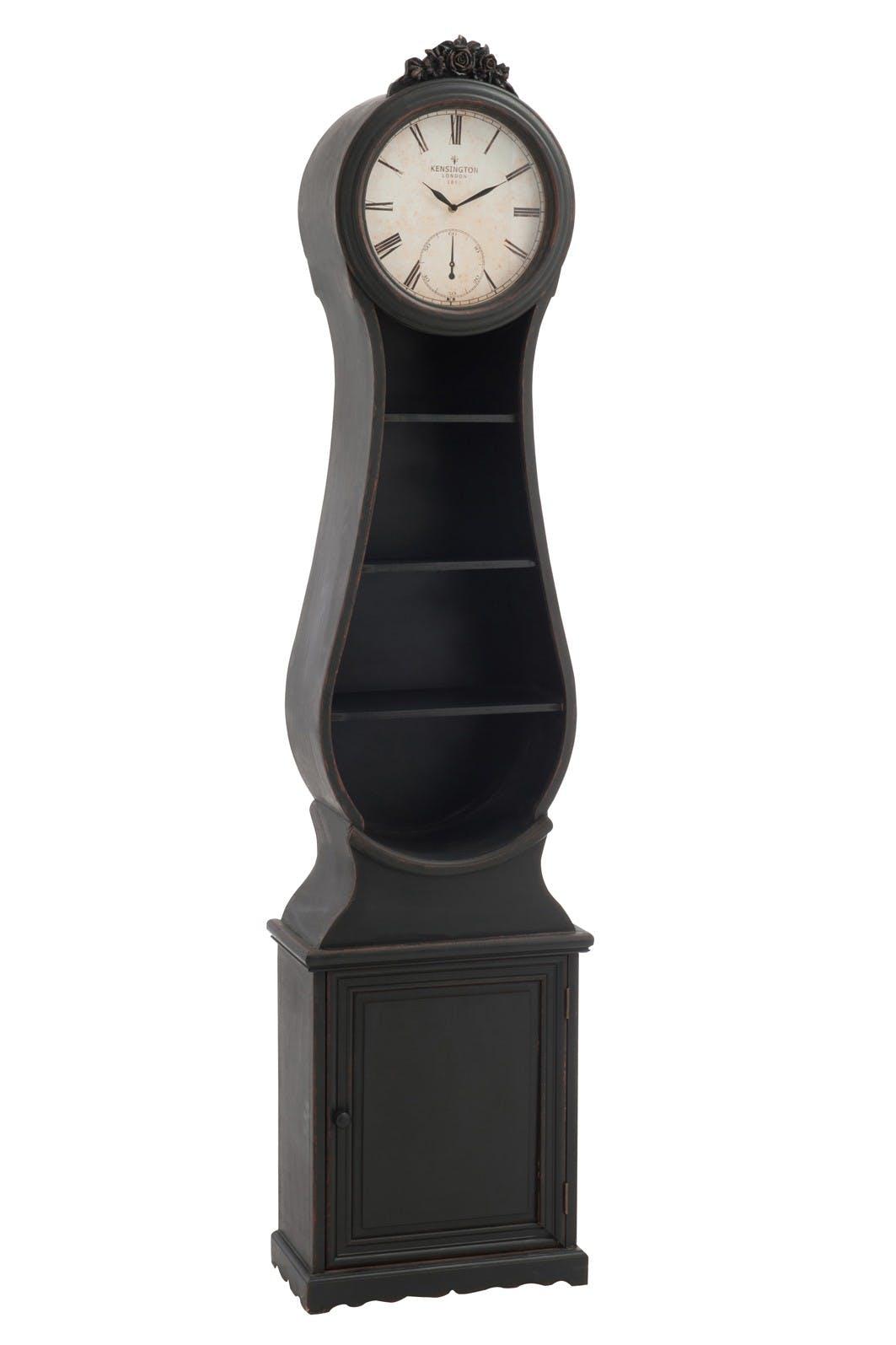Comtoise Armoire de 1m99 Style Vintage avec 3 étagères et porte avec rangements en bois et verre Larg 48,5xP25cm - Coloris Noir