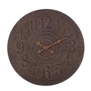 Horloge murale ronde Grand diamètre D60cm Style Industriel en métal effet rouille - Coloris Marron