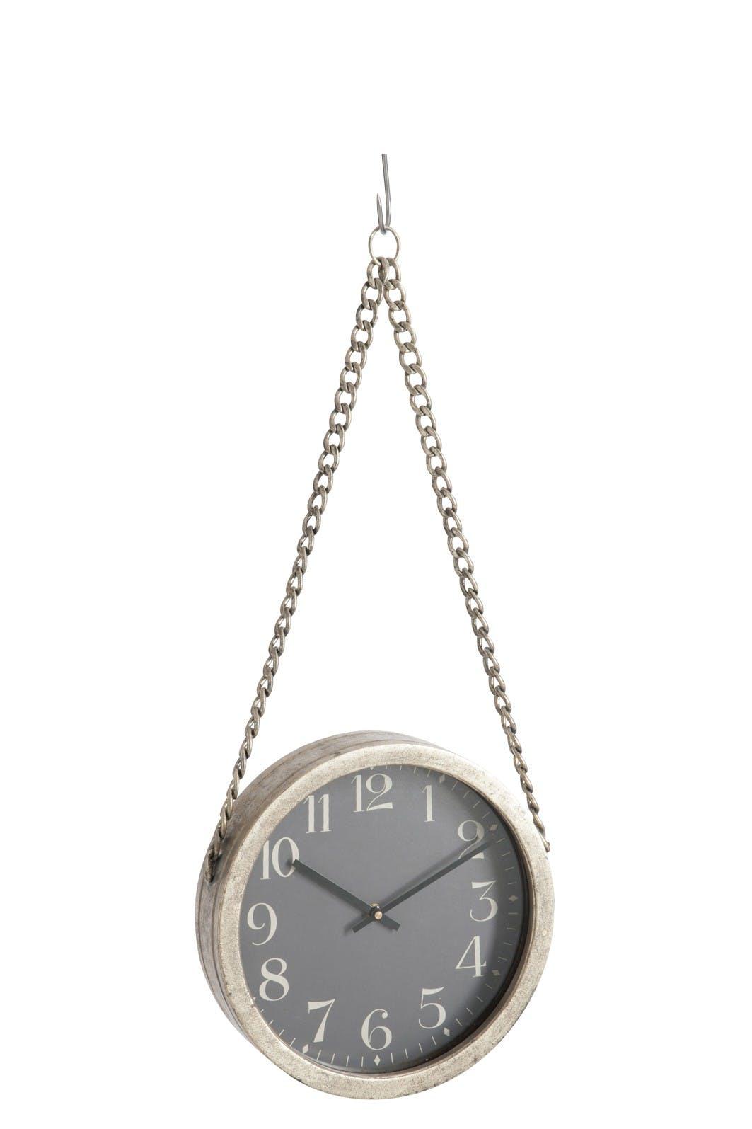 Horloge murale ronde à suspendre D31,5cm Style Industriel avec chaine L97xP7cm en métal - Coloris Gris