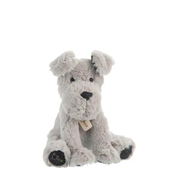 Peluche chien assis gris H25cm