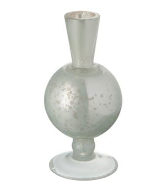 Vase soliflore sur pied forme boule en verre blanc nacré  9X9X16cm