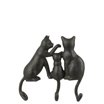Patère 3 crochets forme chat en résine choco 23x5x23cm