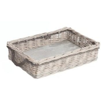 Plateau rectangle avec 2 anses en saule naturel et gris 47x31x10cm