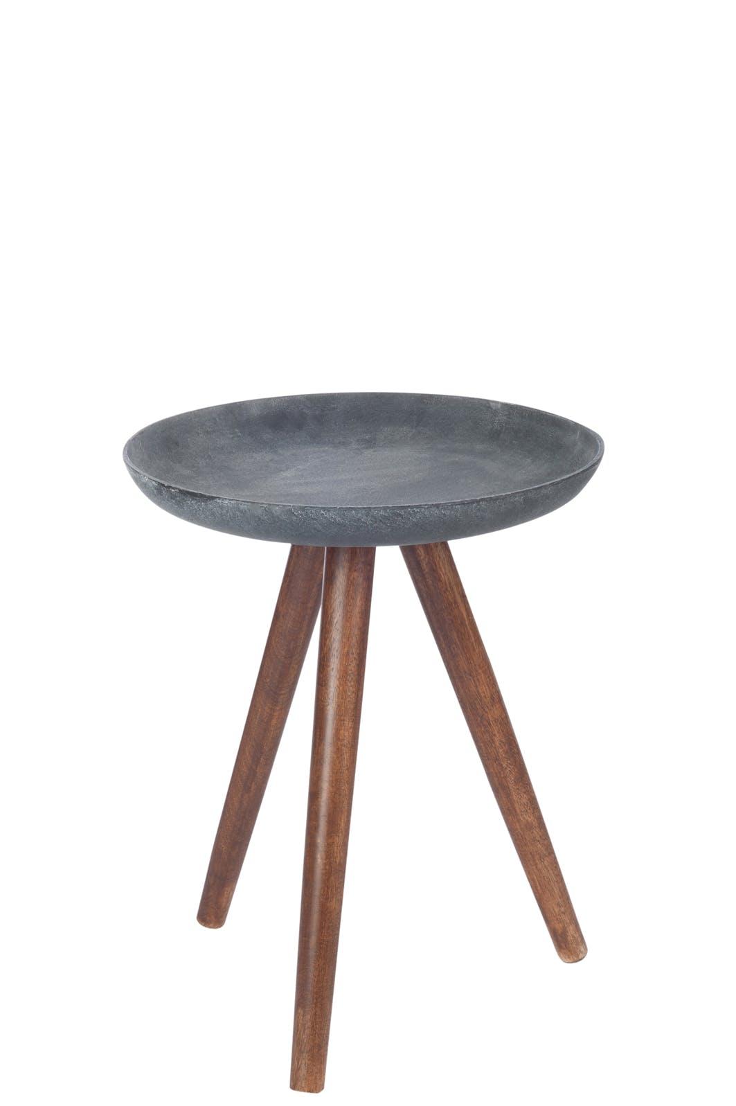 Table d'appoint métal gris foncé, trépied bois - D35 H43cm