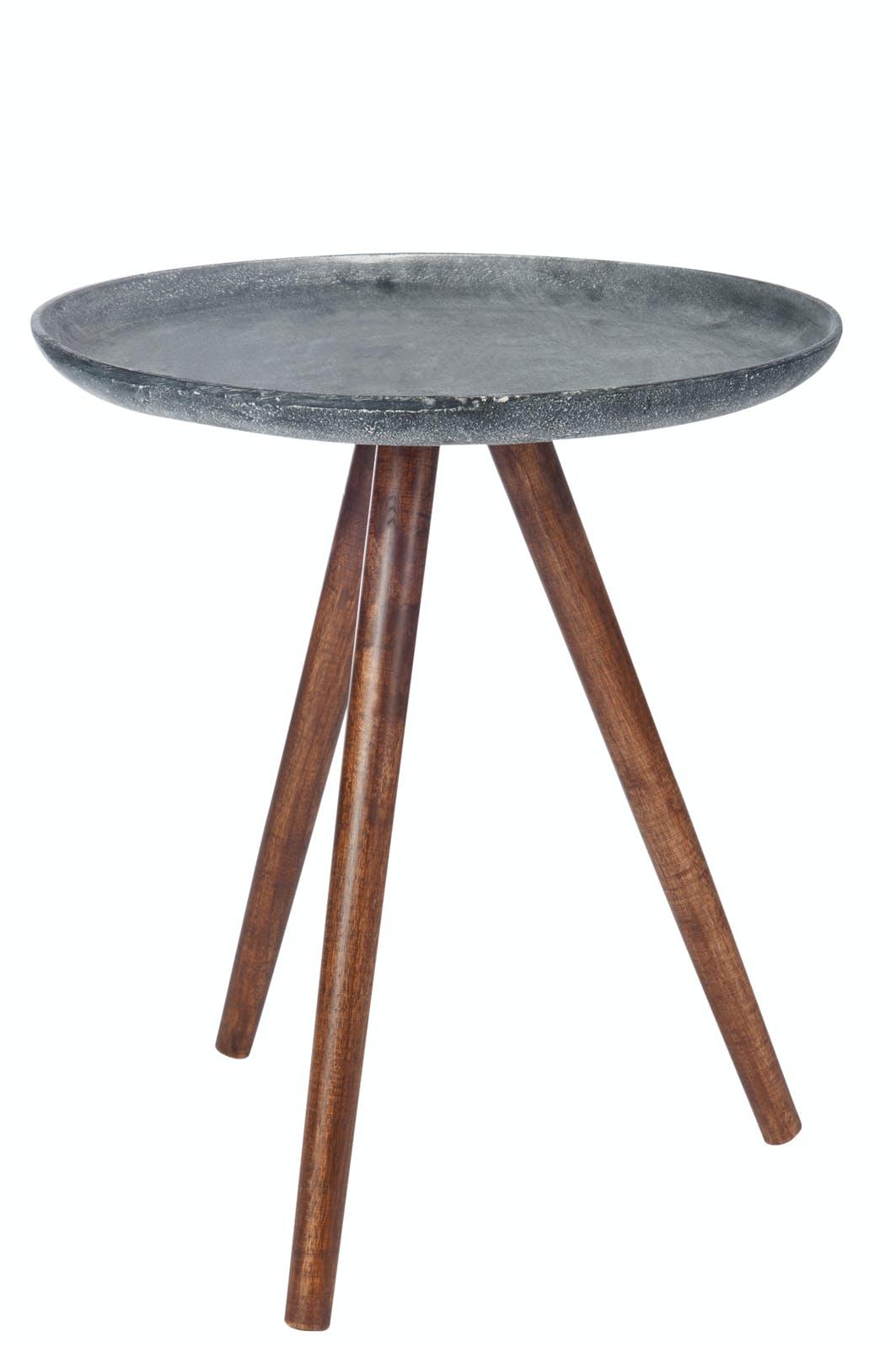 Table d'appoint plateau métal gris vieilli,pieds bois - D45 H50cm