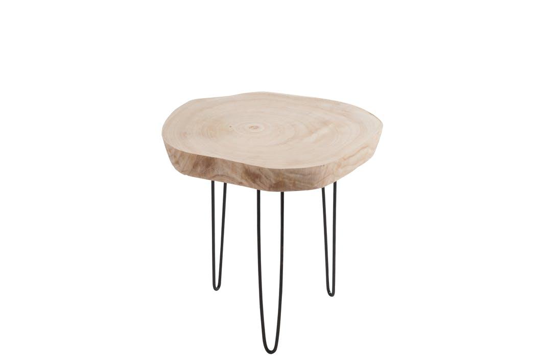 Table d'appoint en bois naturel clair, 3 pieds métal - 45x36x42cm