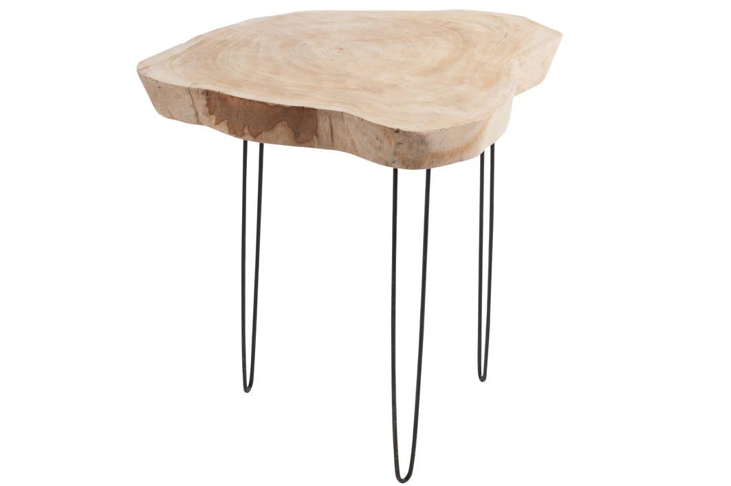 Table d'appoint, plateau bois clair et pieds métal noir 65x53x58cm