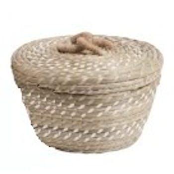 Panier rond évasé en rotin naturel et blanc avec anse corde D22xH14cm