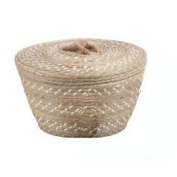 Panier rond évasé en rotin naturel et blanc avec anse corde D28xH18cm
