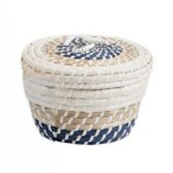 Panier rond avec couvercle en rotin naturel blanc et bleu D22xH14cm