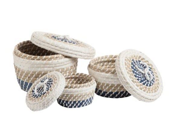 Panier rond avec couvercle en rotin naturel blanc et bleu D28xH18cm