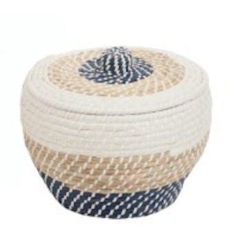 Panier rond avec couvercle en rotin naturel blanc et bleu D39xH29cm