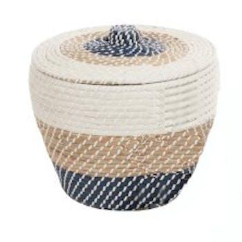Panier rond avec couvercle en rotin naturel blanc et bleu D46xH37cm