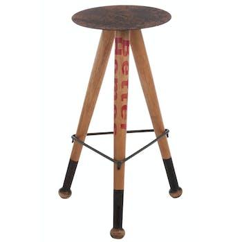 Tabouret haut en bois et métal marron et gris 46x42x68cm