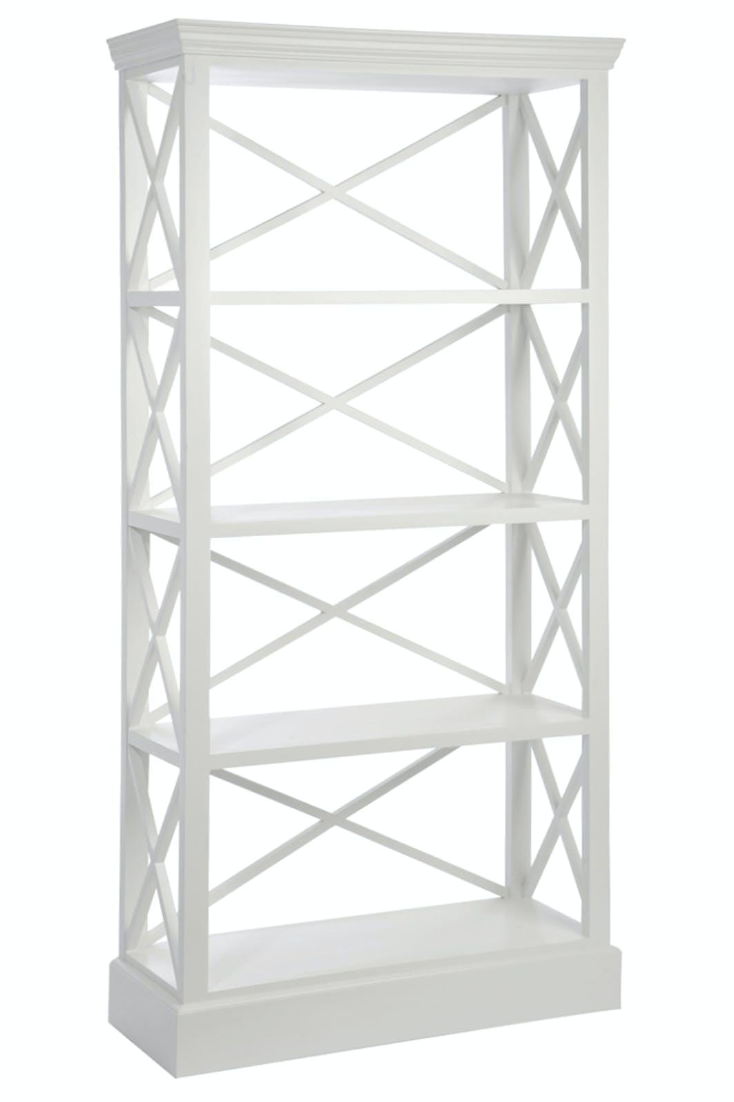 Bibliothèque pin blanc 4 étagères avec croisillons 90x37x190cm