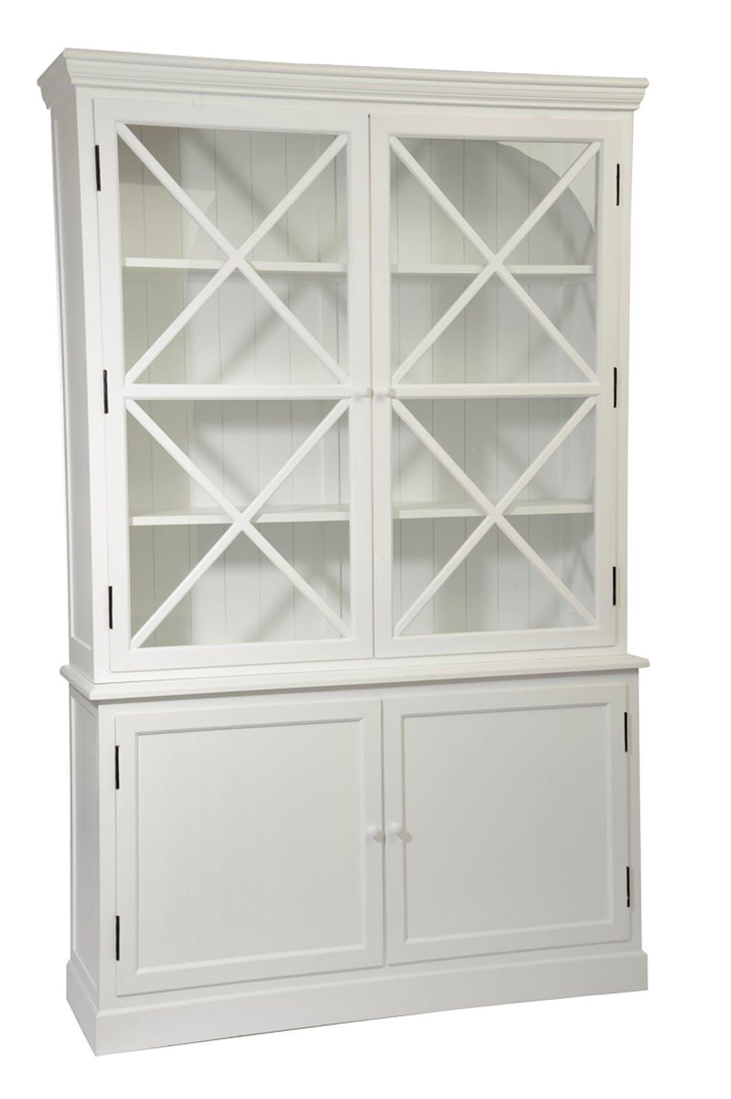 Bibliothèque vaisselier bois blanc 4 portes dont 2 vitrées 136x41x216cm