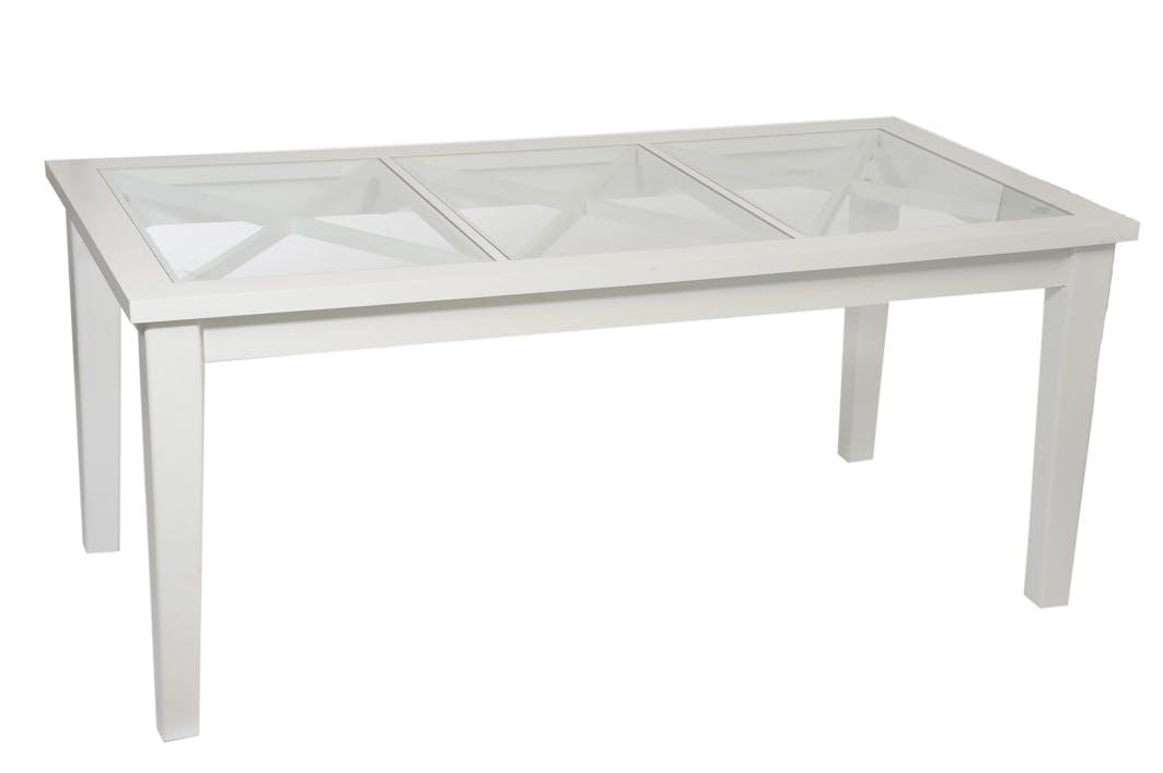 Table de repas pin blanc et plateau verre avec croisillons 180x90x78cm