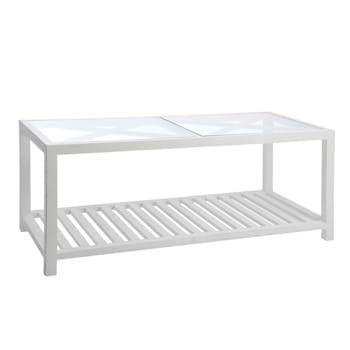Table basse bois blanc, plateau supérieur en verre avec croisillons 110x50x45cm