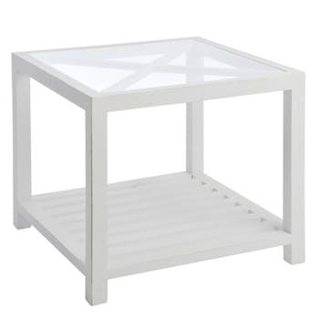 Bout de canapé bois blanc, plateau supérieur en verre  avec croisillons 50x50x45cm