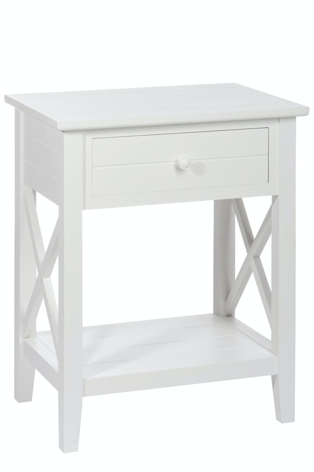 Bout de canapé / Table de chevet bois blanc pieds croisillons, 1 tiroir 50x35x63cm