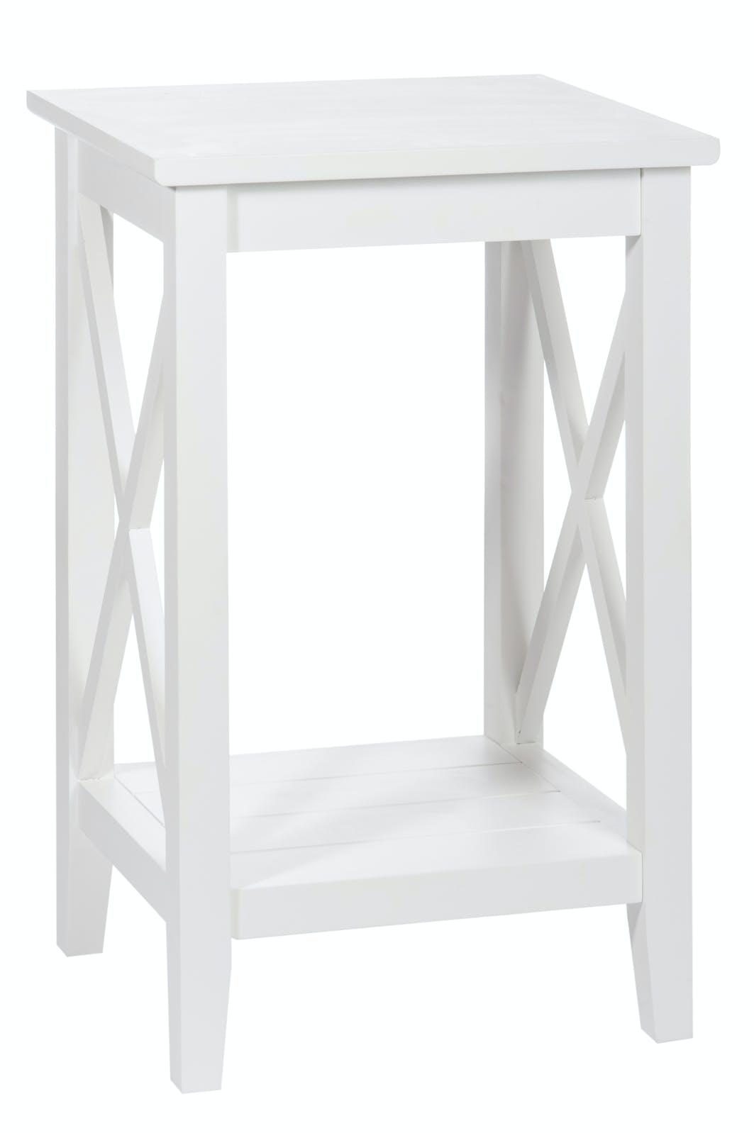 Bout de canapé bois blanc double plateau, pieds croisillons 40x35x65cm