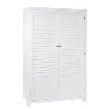 Armoire en bois blanc 2 portes, partie supérieure en lattes, 120x55x185cm