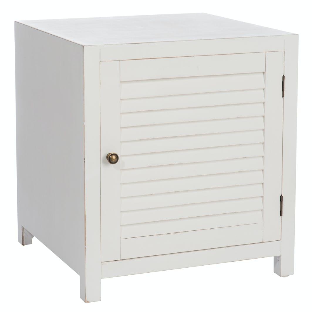 Table de chevet en bois blanc 1 porte en lattes, 50x50x55cm
