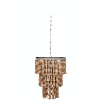 Lustre tropical perles de bois, accroche chaîne métal, 60x60x182cm