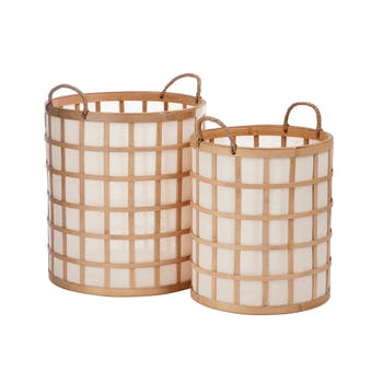 Lot de 2 paniers ronds avec anses bambou naturel et tissu, 37x37x41cm