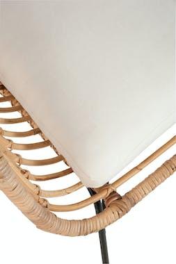 Fauteuil en rotin naturel + coussin, pieds métal, 67x60x80cm