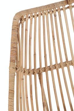Canapé 2 places en rotin naturel + coussin, pieds métal, 130x62x89cm