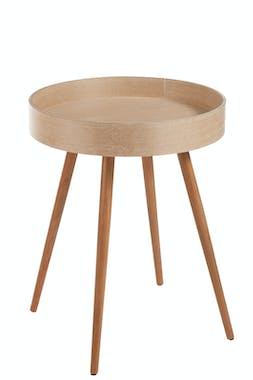 Table ronde frêne et pieds en hêtre, haut rebord 52x52x67cm