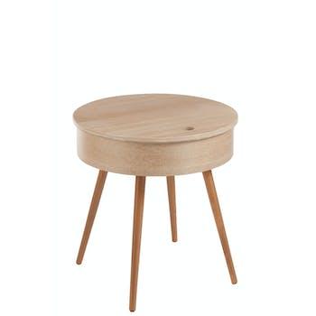 Table ronde frêne couvercle relevable, pieds en hêtre 53x53x54cm