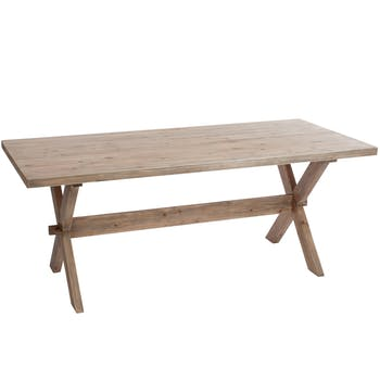 Table rectangulaire en sapin naturel, pieds croisés, 200x90x75cm