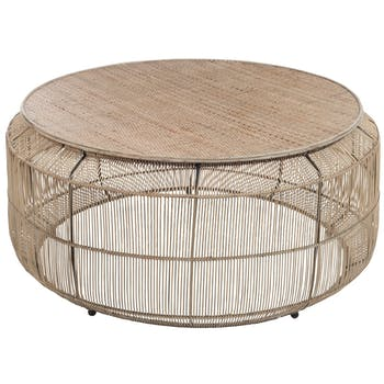 Table de salon ronde en rotin tressé naturel 90x90x45cm