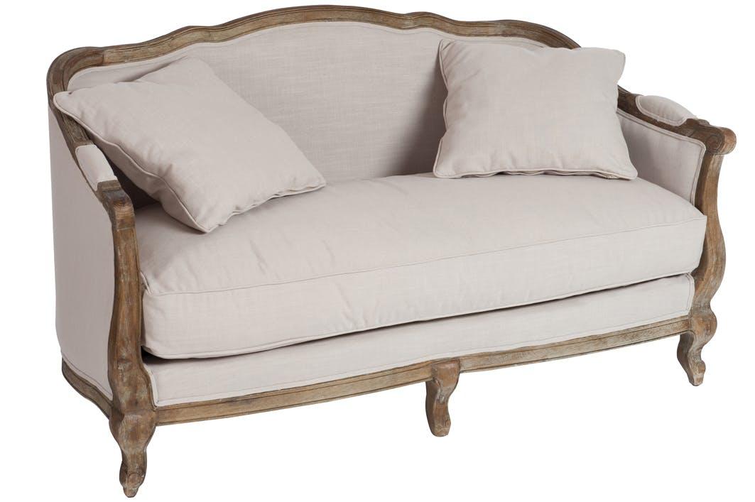 Canapé bergère 2 places en chêne, beige 154cm