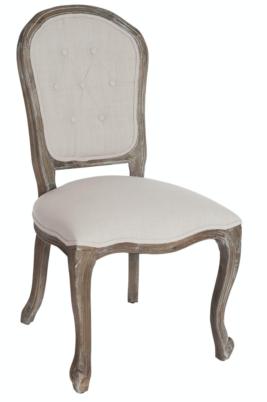 Chaise romantique beige en chêne, dossier à boutons